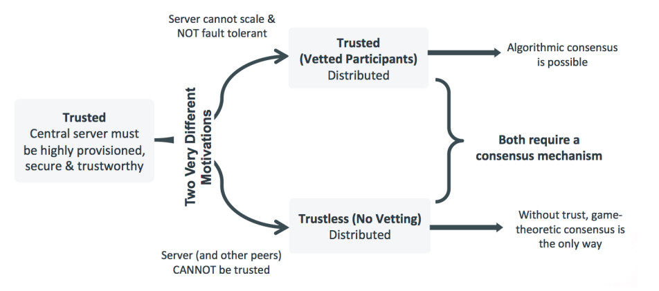 Motivations behind the public and permissioned blockchain ledgers